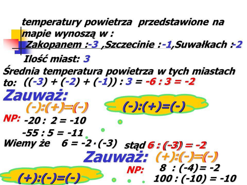 Zauważ: Zauważ: (-):(+)=(-) (-) (-):(+)=(-) : (+) =(-) (+) (+):(-)=(-)