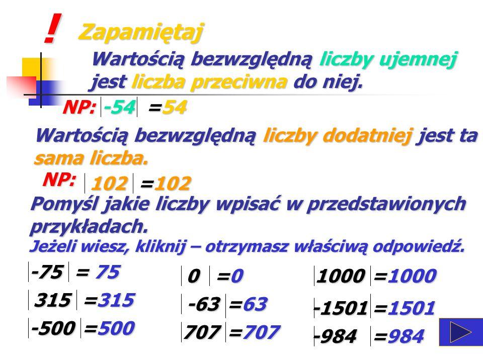 ! Zapamiętaj. Wartością bezwzględną liczby ujemnej jest liczba przeciwna do niej. NP: -54. =54.