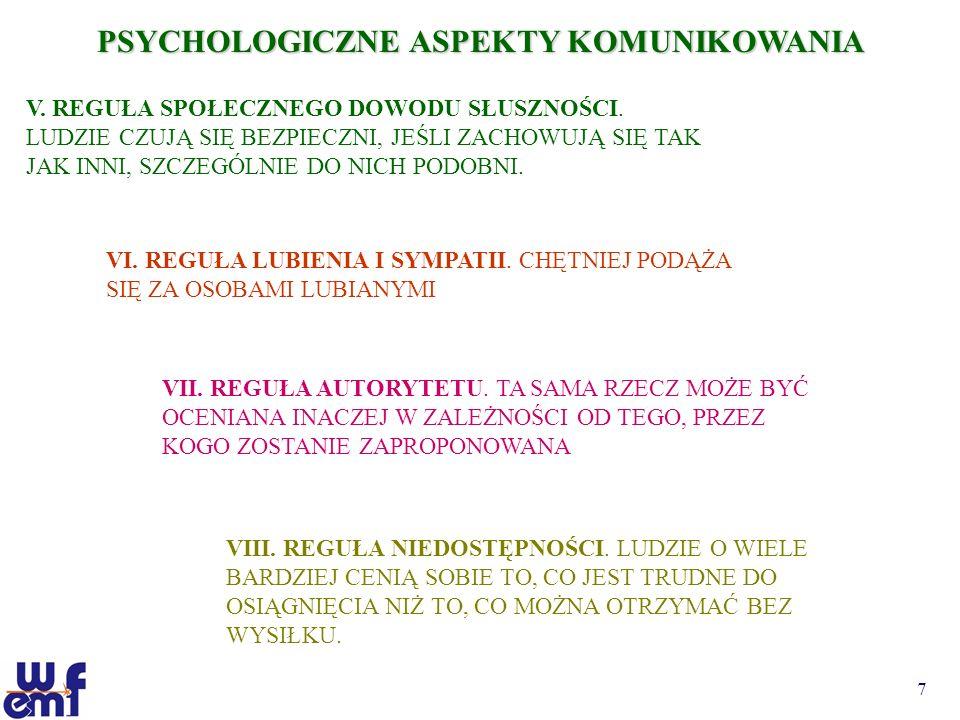 PSYCHOLOGICZNE ASPEKTY KOMUNIKOWANIA
