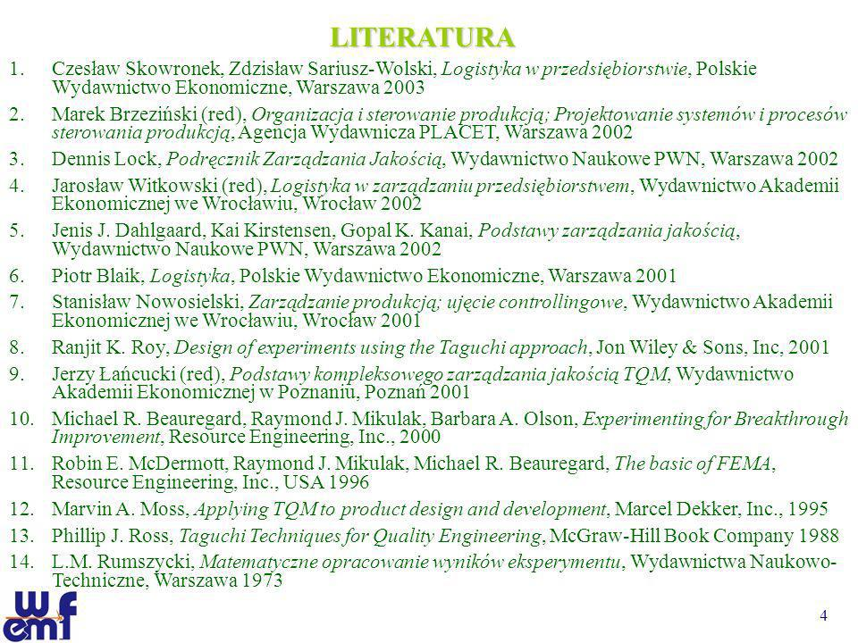 LITERATURA Czesław Skowronek, Zdzisław Sariusz-Wolski, Logistyka w przedsiębiorstwie, Polskie Wydawnictwo Ekonomiczne, Warszawa 2003.