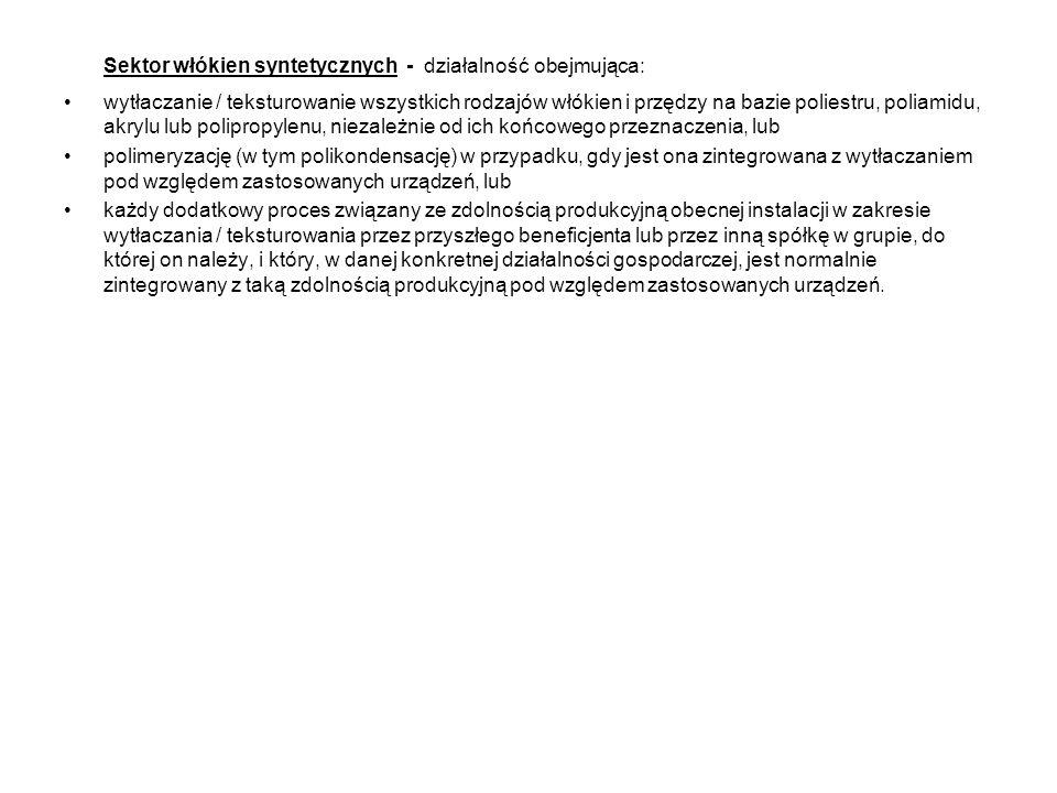 Sektor włókien syntetycznych - działalność obejmująca: