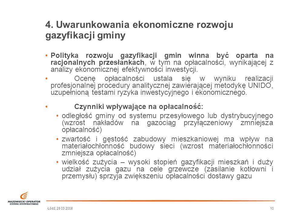 4. Uwarunkowania ekonomiczne rozwoju gazyfikacji gminy