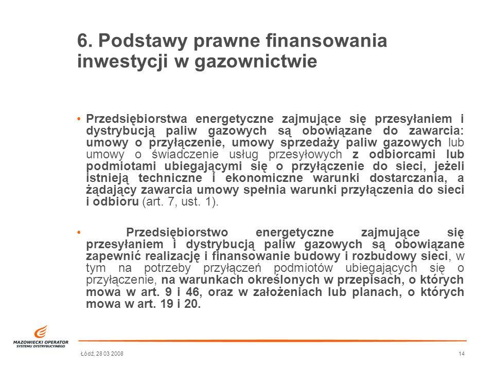 6. Podstawy prawne finansowania inwestycji w gazownictwie
