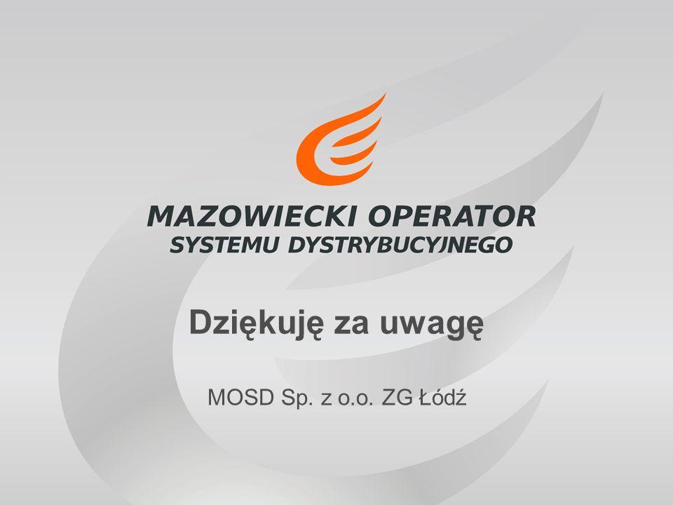 Dziękuję za uwagę MOSD Sp. z o.o. ZG Łódź