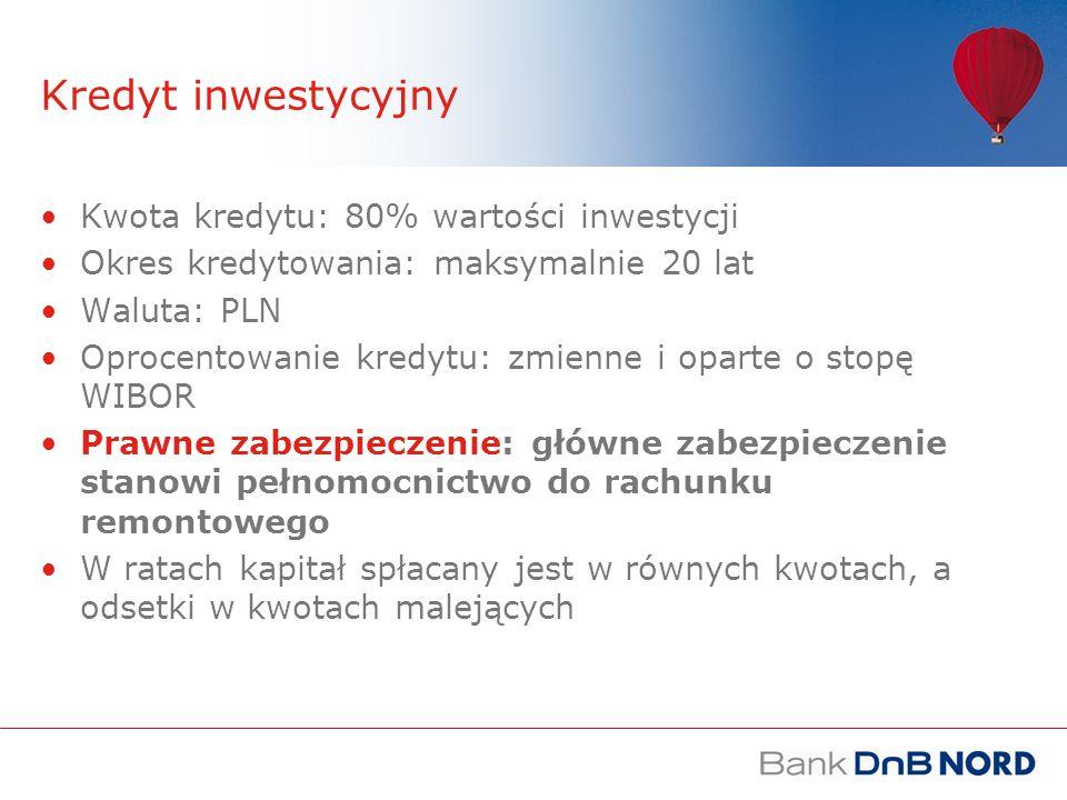 Kredyt inwestycyjny Kwota kredytu: 80% wartości inwestycji