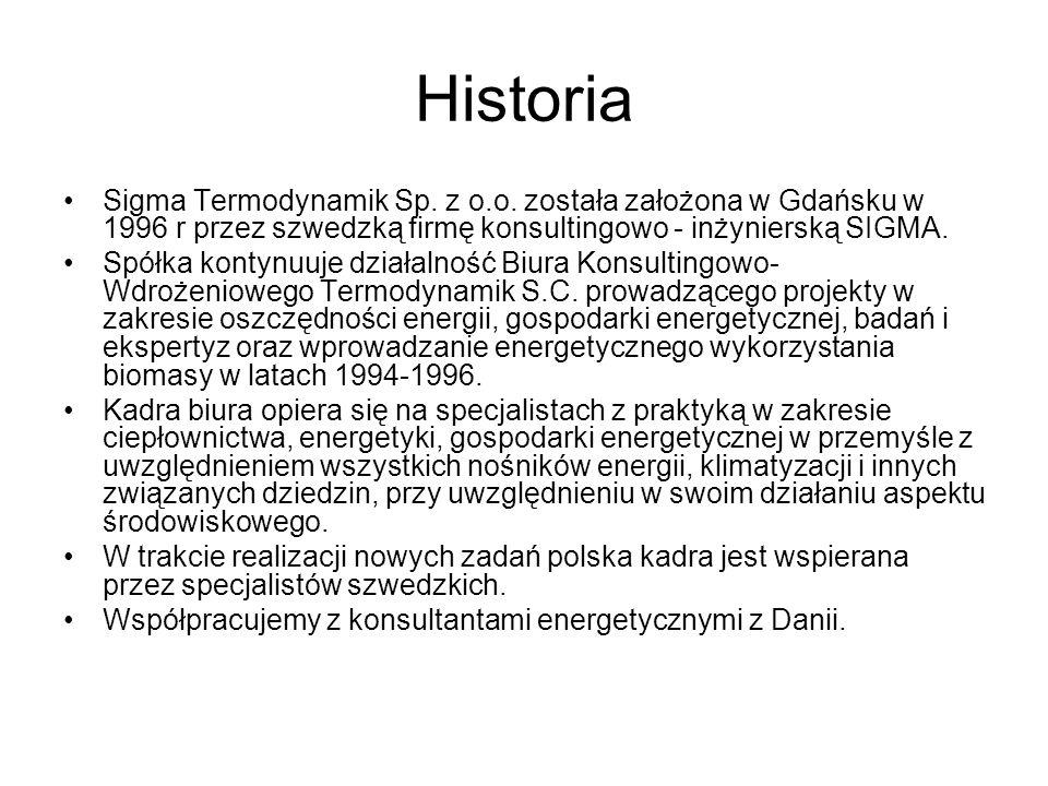 Historia Sigma Termodynamik Sp. z o.o. została założona w Gdańsku w 1996 r przez szwedzką firmę konsultingowo - inżynierską SIGMA.