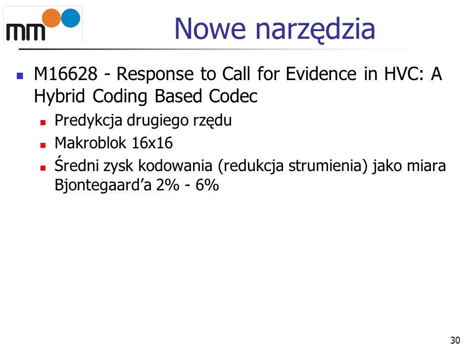 Nowe narzędzia M16628 - Response to Call for Evidence in HVC: A Hybrid Coding Based Codec. Predykcja drugiego rzędu.