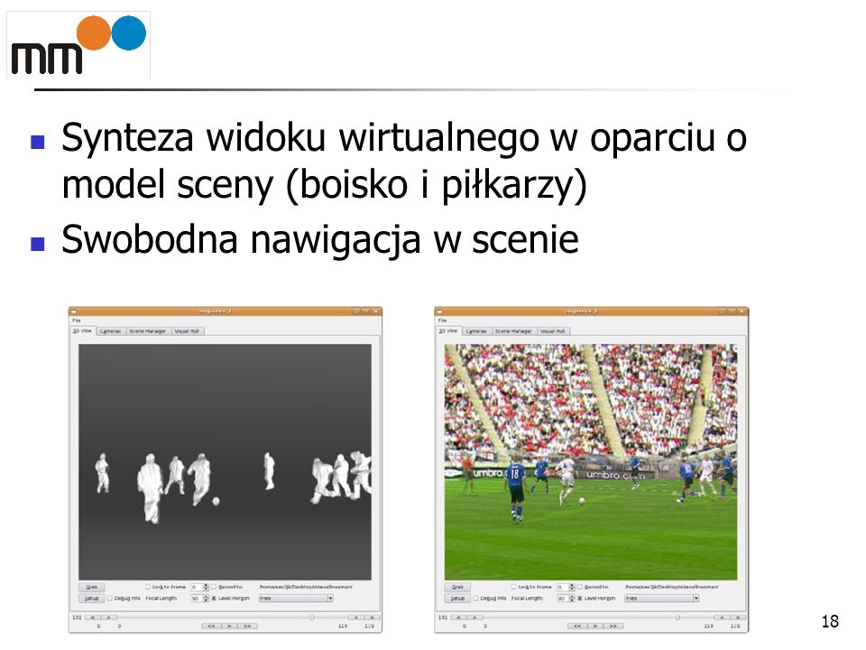 Synteza widoku wirtualnego w oparciu o model sceny (boisko i piłkarzy)