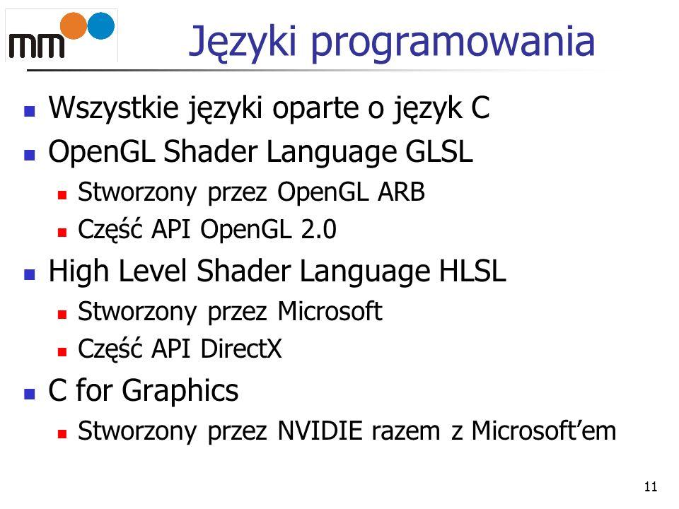 Języki programowania Wszystkie języki oparte o język C