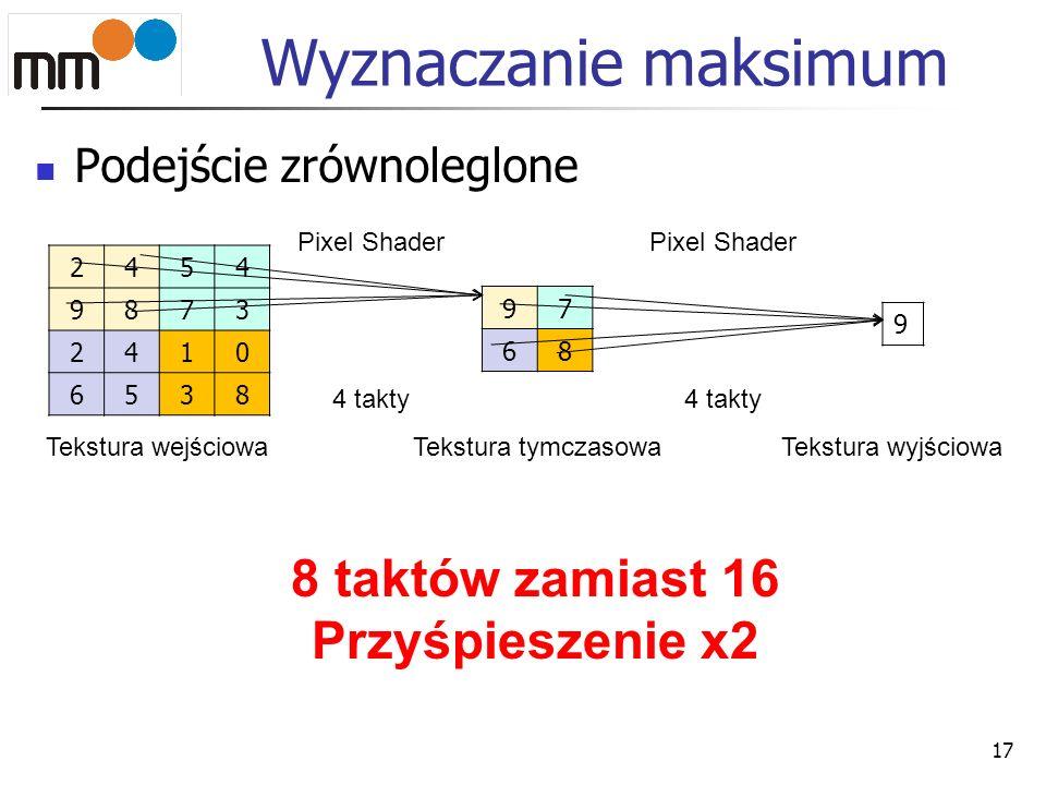 Wyznaczanie maksimum 8 taktów zamiast 16 Przyśpieszenie x2