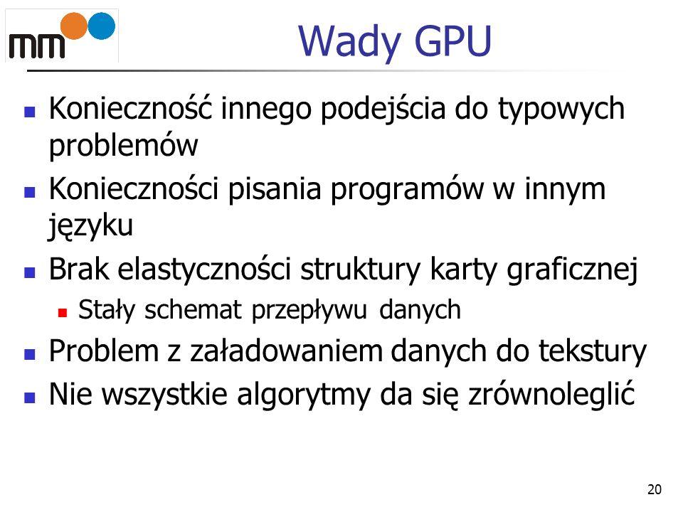 Wady GPU Konieczność innego podejścia do typowych problemów