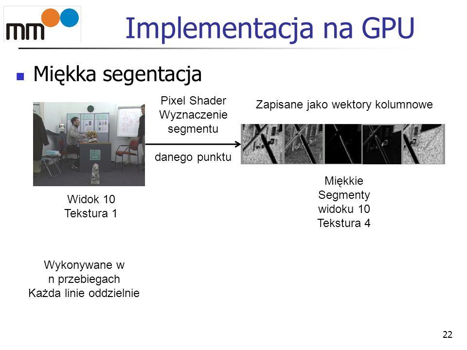 Implementacja na GPU Miękka segentacja Pixel Shader