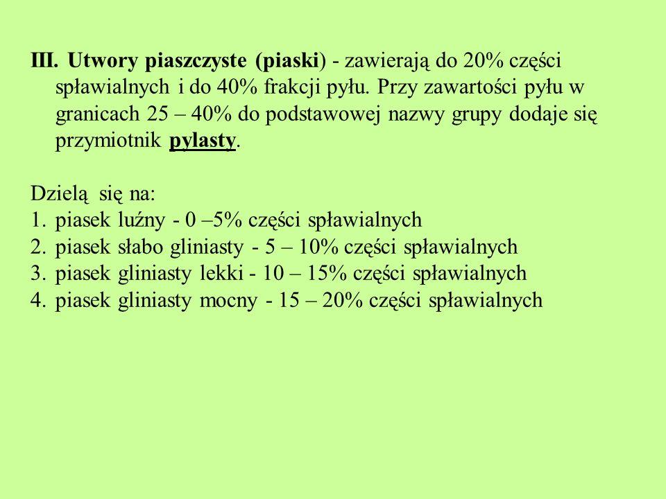 III. Utwory piaszczyste (piaski) - zawierają do 20% części spławialnych i do 40% frakcji pyłu. Przy zawartości pyłu w granicach 25 – 40% do podstawowej nazwy grupy dodaje się przymiotnik pylasty.