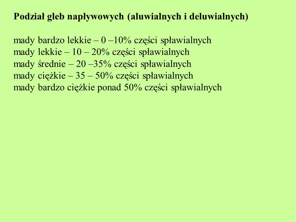 Podział gleb napływowych (aluwialnych i deluwialnych)