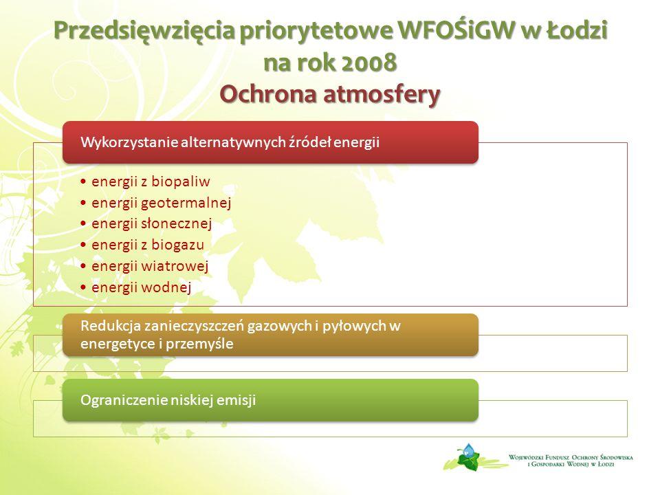 Przedsięwzięcia priorytetowe WFOŚiGW w Łodzi na rok 2008 Ochrona atmosfery