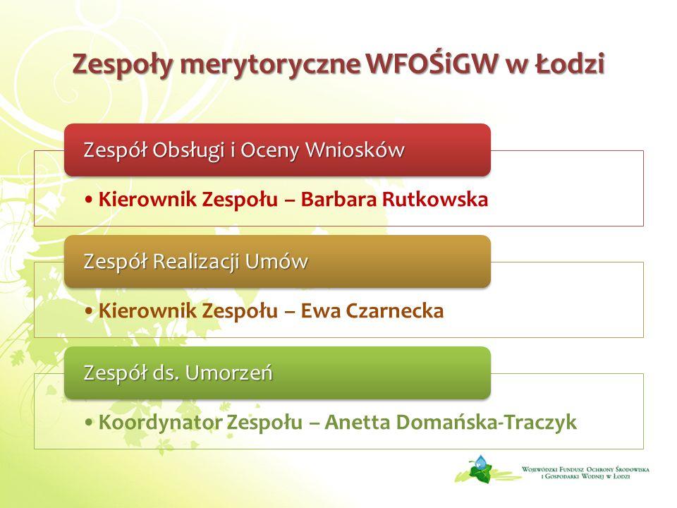 Zespoły merytoryczne WFOŚiGW w Łodzi
