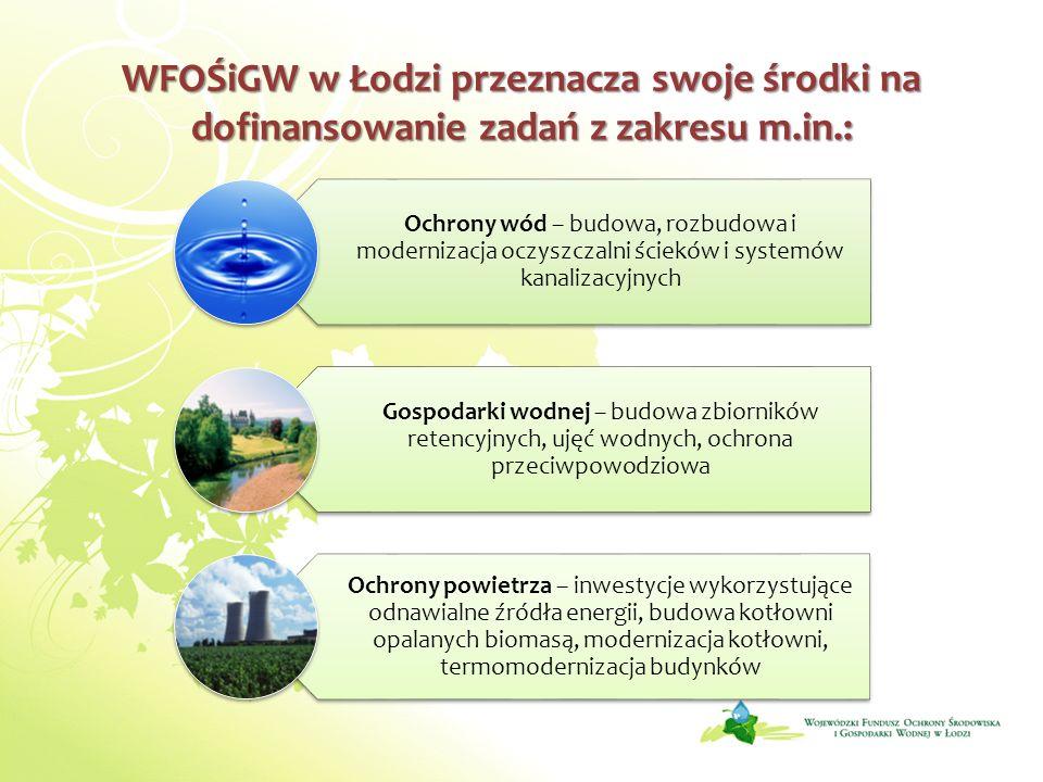 WFOŚiGW w Łodzi przeznacza swoje środki na dofinansowanie zadań z zakresu m.in.: