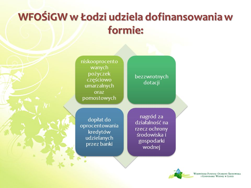 WFOŚiGW w Łodzi udziela dofinansowania w formie: