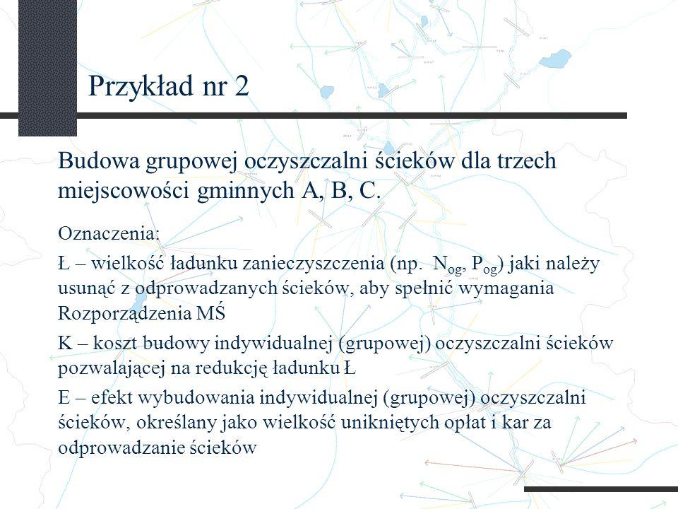 Przykład nr 2 Budowa grupowej oczyszczalni ścieków dla trzech miejscowości gminnych A, B, C. Oznaczenia: