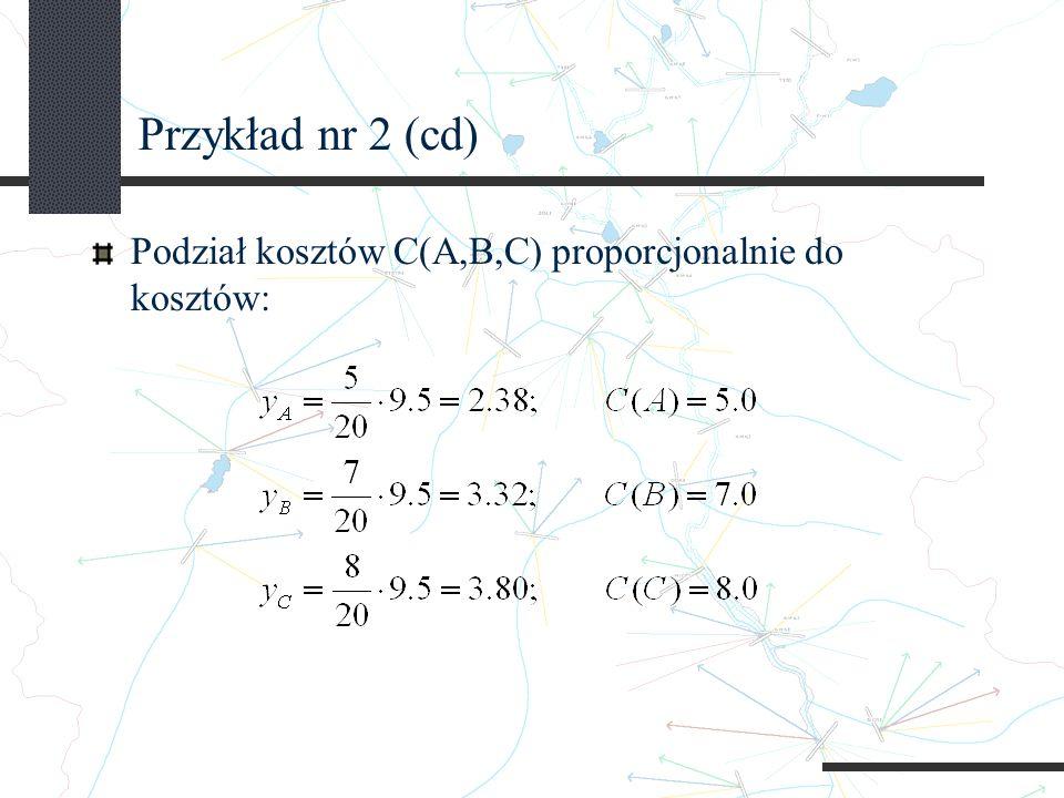 Przykład nr 2 (cd) Podział kosztów C(A,B,C) proporcjonalnie do kosztów: