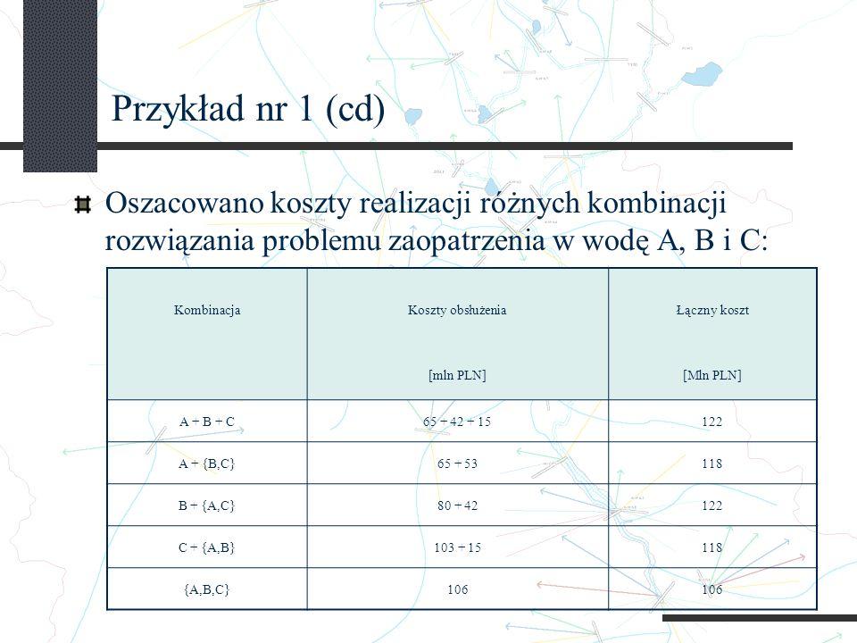 Przykład nr 1 (cd) Oszacowano koszty realizacji różnych kombinacji rozwiązania problemu zaopatrzenia w wodę A, B i C: