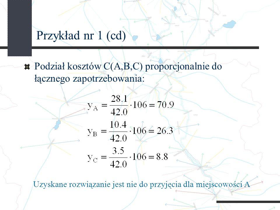 Przykład nr 1 (cd) Podział kosztów C(A,B,C) proporcjonalnie do łącznego zapotrzebowania: