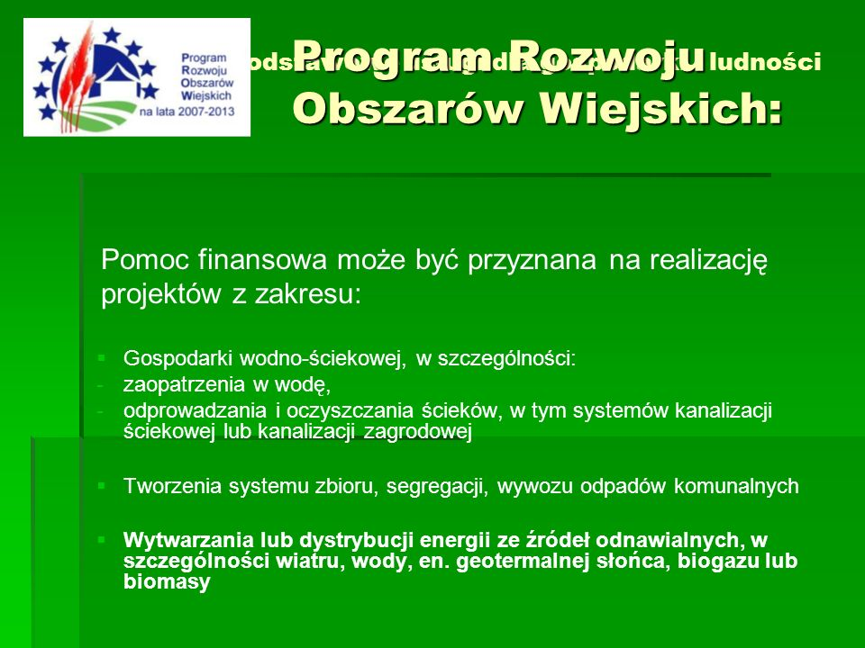 Działanie 3.2 Podstawowe usługi dla gospodarki i ludności wiejskiej