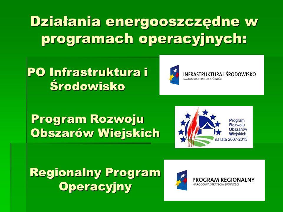 Działania energooszczędne w programach operacyjnych: