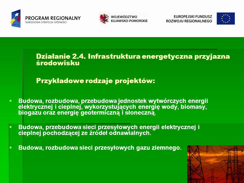 Działanie 2.4. Infrastruktura energetyczna przyjazna środowisku Przykładowe rodzaje projektów: