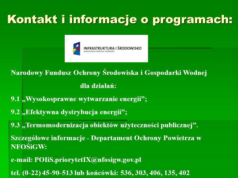 Kontakt i informacje o programach: