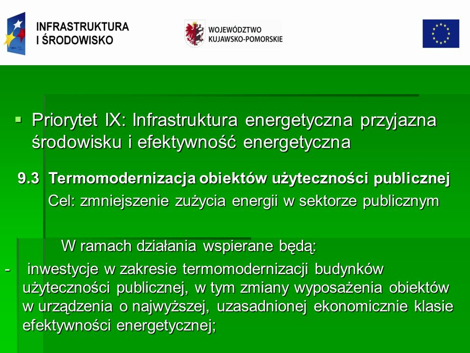 Priorytet IX: Infrastruktura energetyczna przyjazna środowisku i efektywność energetyczna