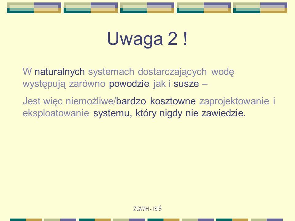 Uwaga 2 ! W naturalnych systemach dostarczających wodę występują zarówno powodzie jak i susze –