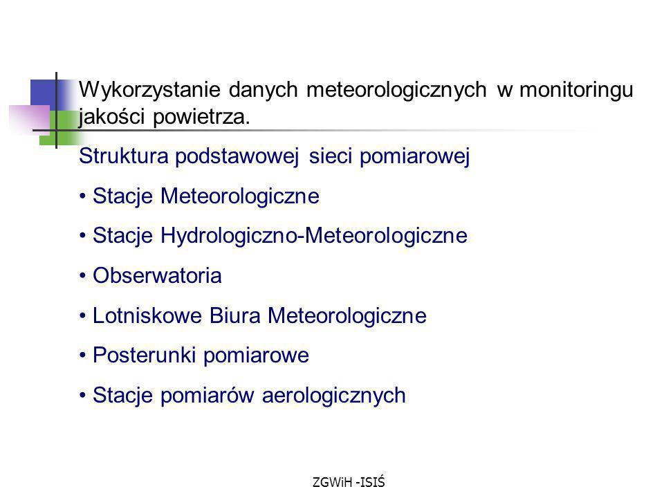 Struktura podstawowej sieci pomiarowej Stacje Meteorologiczne