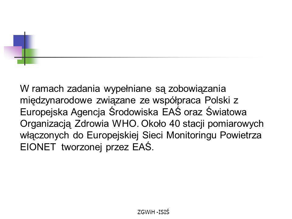 W ramach zadania wypełniane są zobowiązania międzynarodowe związane ze współpraca Polski z Europejska Agencja Środowiska EAŚ oraz Światowa Organizacją Zdrowia WHO. Około 40 stacji pomiarowych włączonych do Europejskiej Sieci Monitoringu Powietrza EIONET tworzonej przez EAŚ.