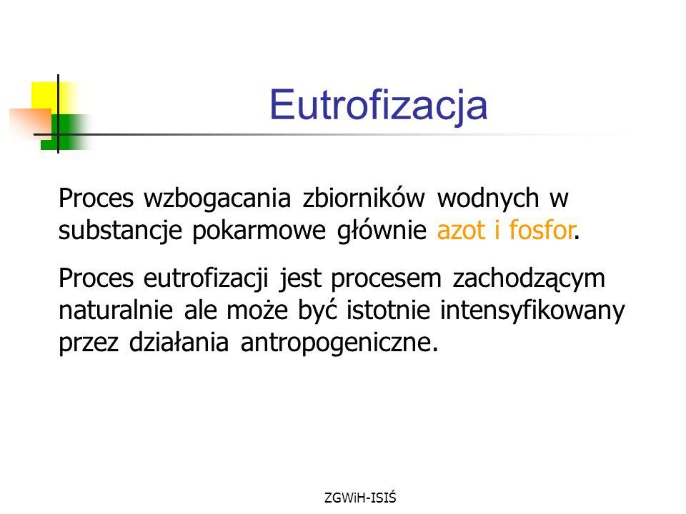 Eutrofizacja Proces wzbogacania zbiorników wodnych w substancje pokarmowe głównie azot i fosfor.