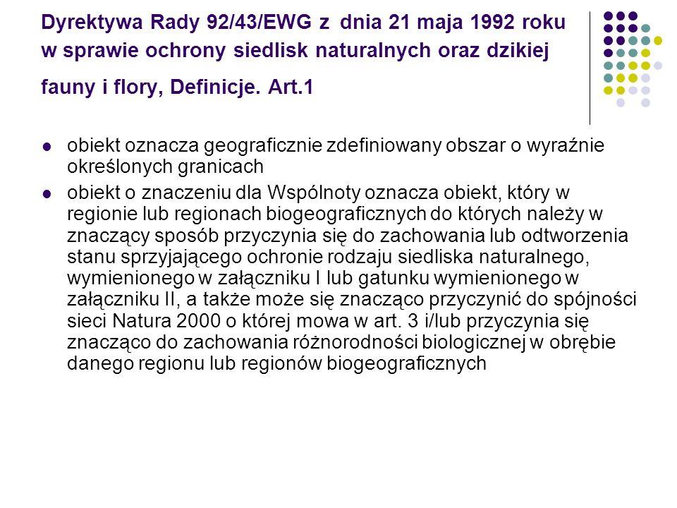 Dyrektywa Rady 92/43/EWG z dnia 21 maja 1992 roku w sprawie ochrony siedlisk naturalnych oraz dzikiej fauny i flory, Definicje. Art.1