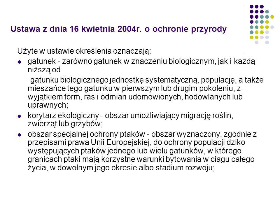 Ustawa z dnia 16 kwietnia 2004r. o ochronie przyrody