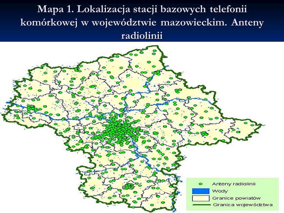 Mapa 1.Lokalizacja stacji bazowych telefonii komórkowej w województwie mazowieckim.