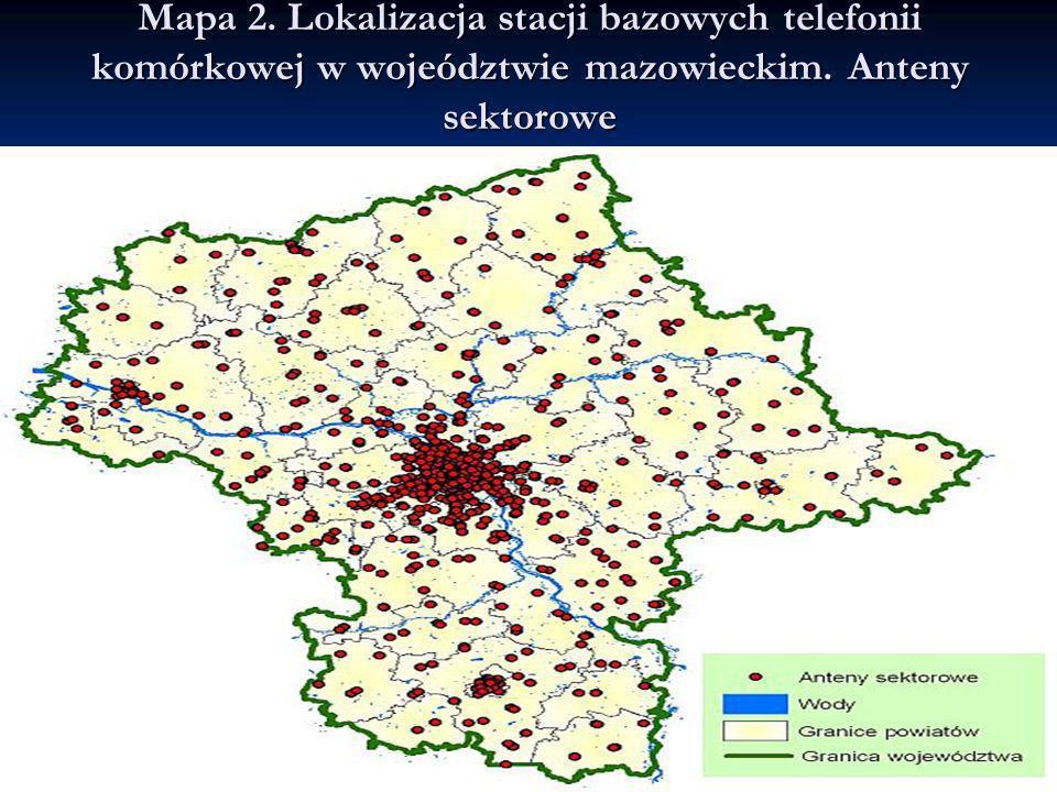 Mapa 2. Lokalizacja stacji bazowych telefonii komórkowej w wojeództwie mazowieckim. Anteny sektorowe