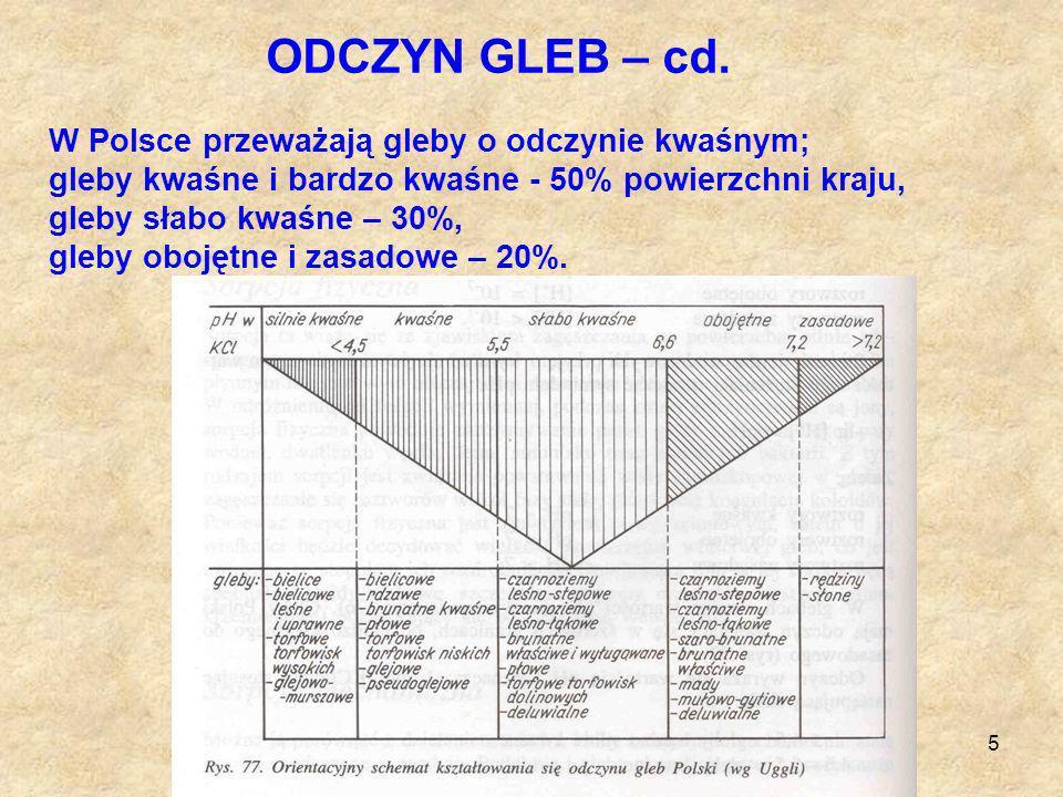 ODCZYN GLEB – cd. W Polsce przeważają gleby o odczynie kwaśnym;