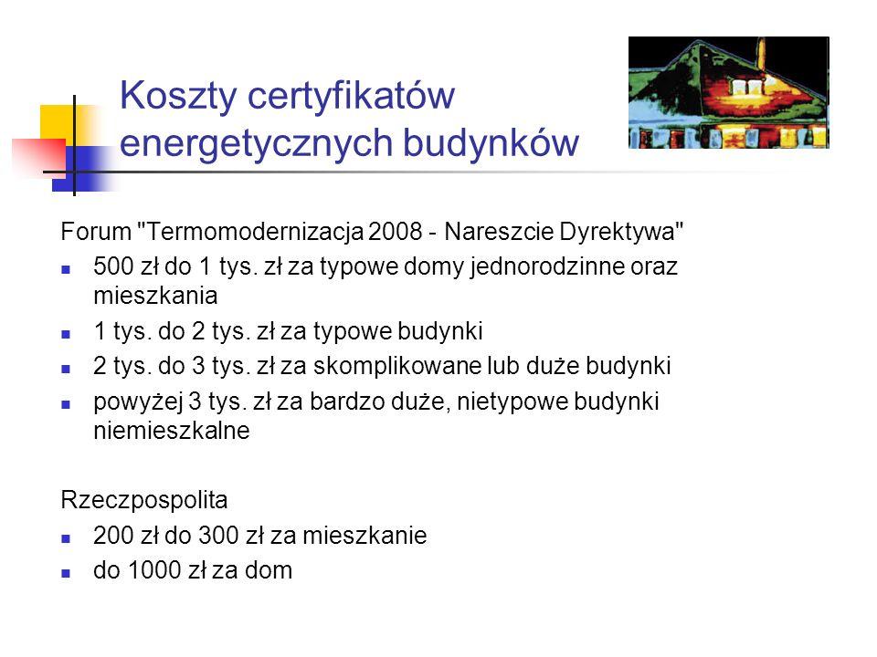 Koszty certyfikatów energetycznych budynków