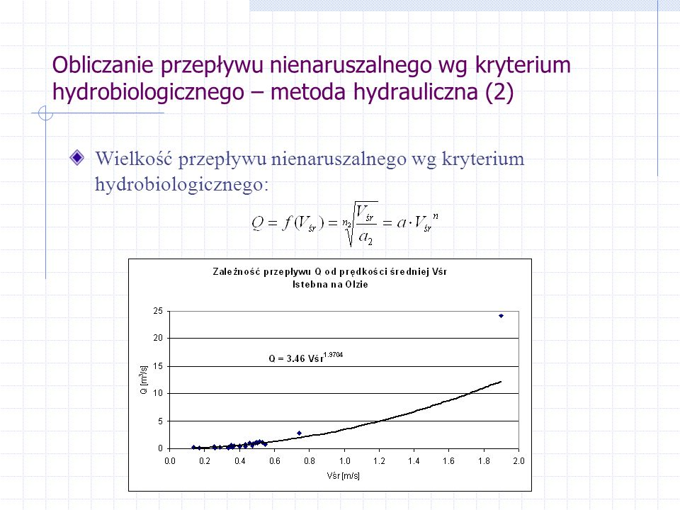 Obliczanie przepływu nienaruszalnego wg kryterium hydrobiologicznego – metoda hydrauliczna (2)
