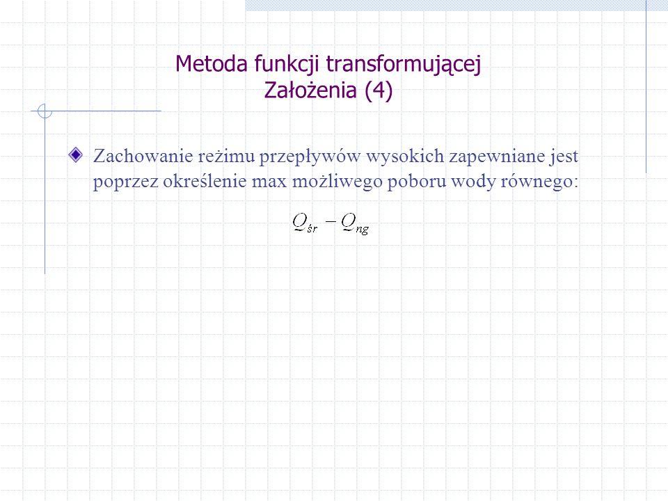 Metoda funkcji transformującej Założenia (4)