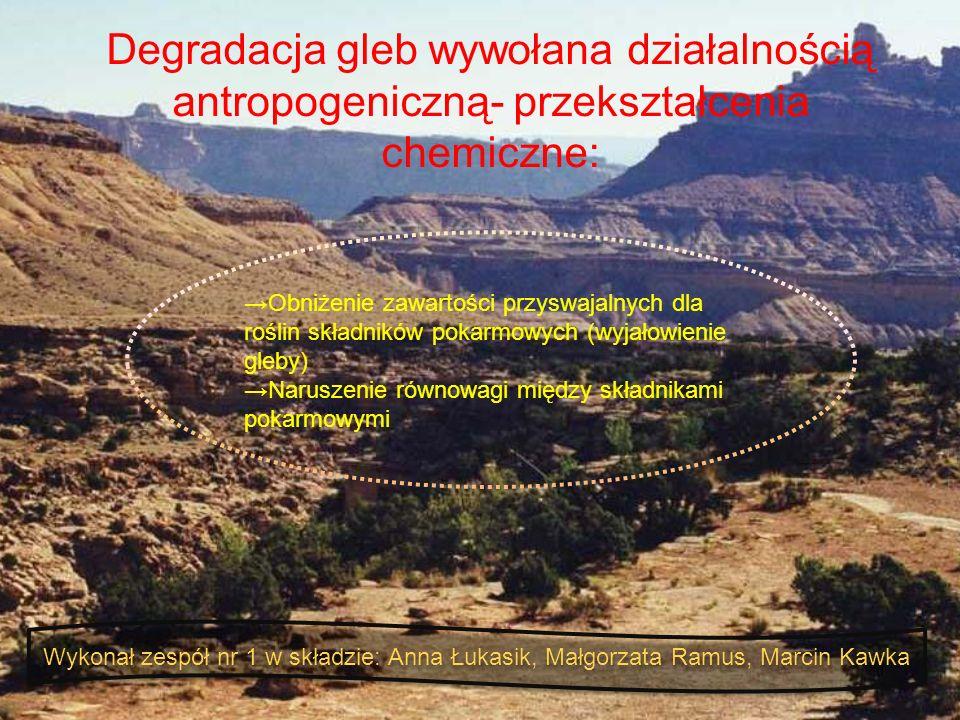 Degradacja gleb wywołana działalnością antropogeniczną- przekształcenia chemiczne: