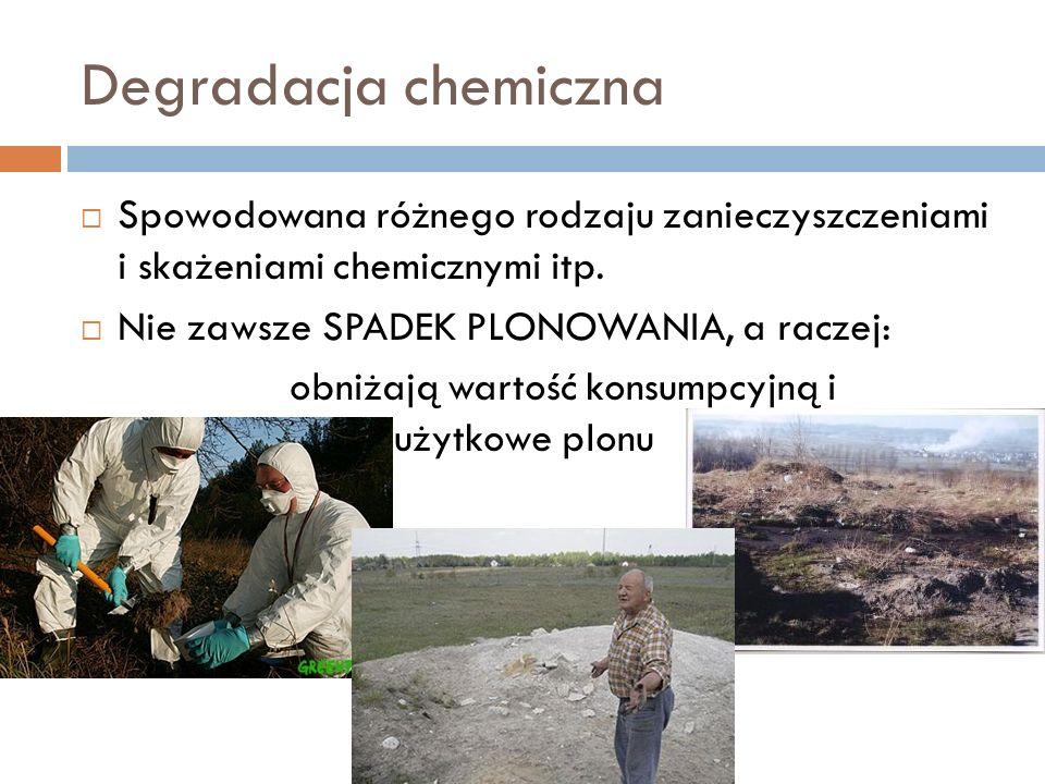 Degradacja chemiczna Spowodowana różnego rodzaju zanieczyszczeniami i skażeniami chemicznymi itp. Nie zawsze SPADEK PLONOWANIA, a raczej: