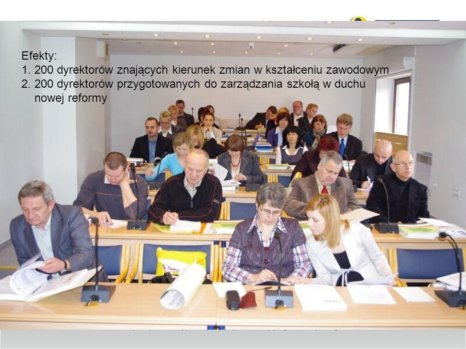 Efekty:1. 200 dyrektorów znających kierunek zmian w kształceniu zawodowym.