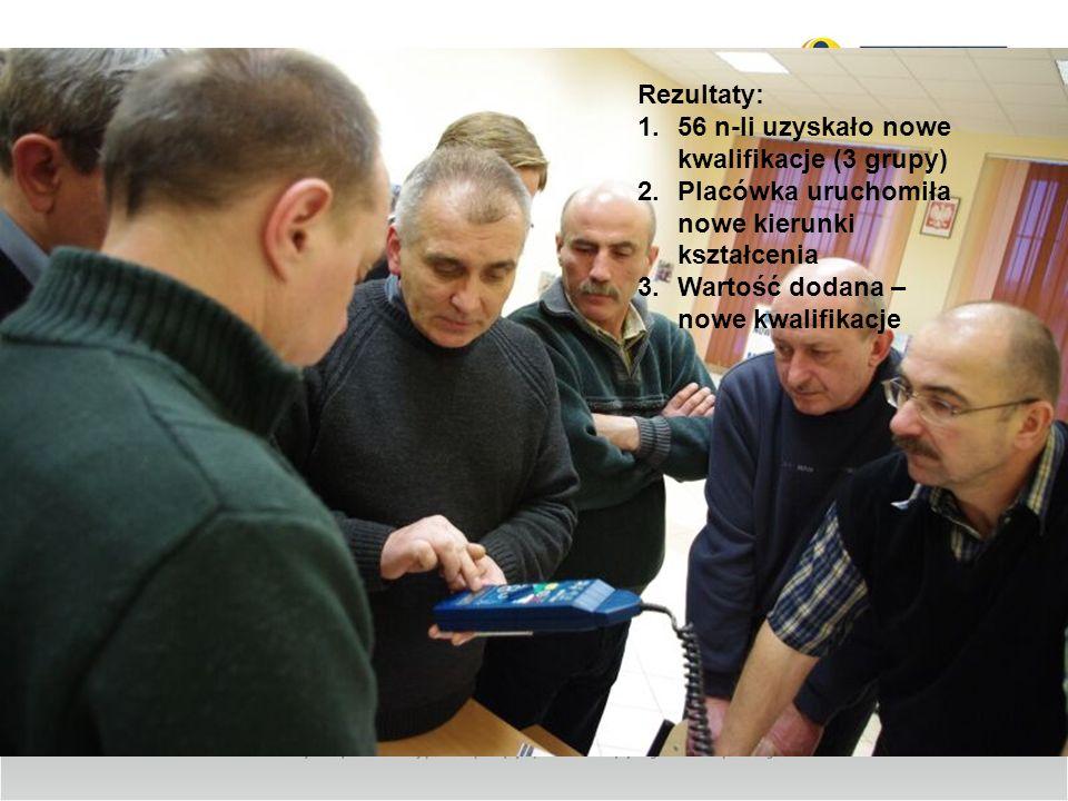 Rezultaty:56 n-li uzyskało nowe kwalifikacje (3 grupy) Placówka uruchomiła nowe kierunki kształcenia.