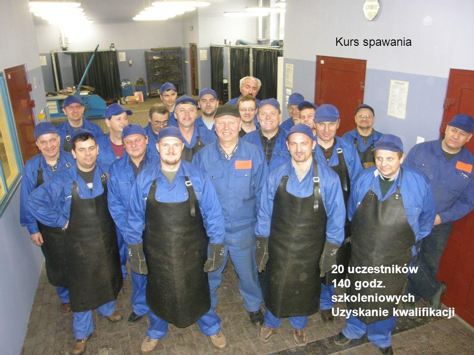 Kurs spawania 20 uczestników 140 godz. szkoleniowych Uzyskanie kwalifikacji