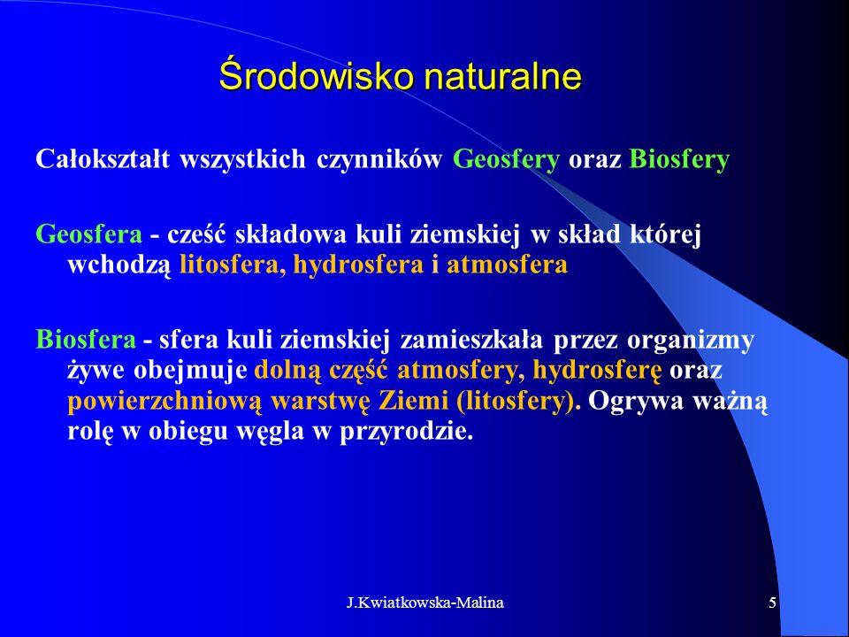 Środowisko naturalne Całokształt wszystkich czynników Geosfery oraz Biosfery.
