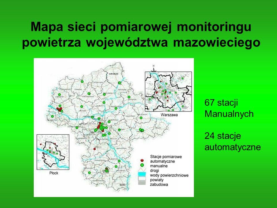 Mapa sieci pomiarowej monitoringu powietrza województwa mazowieciego